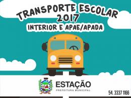 Cadastro Transporte alunos interior do município e alunos APAE/APADA