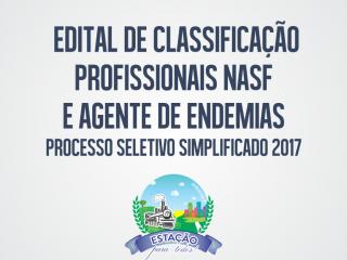 Divulgada a Classificação do Processo Seletivo para os cargos NASF e Agentes de Endemias