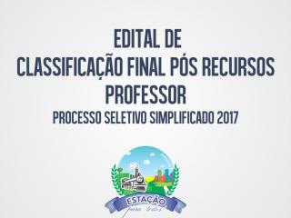 Homologado o Edital de Classificação final para o cargo de Professor pós recursos