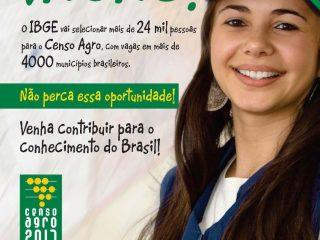 IBGE vai selecionar mas de 24 mil pessoas para o Censo Agropecuário – tem vagas para a região.