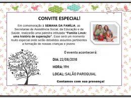 Palestra em comemoração à Semana da Família acontece dia 22 em Estação