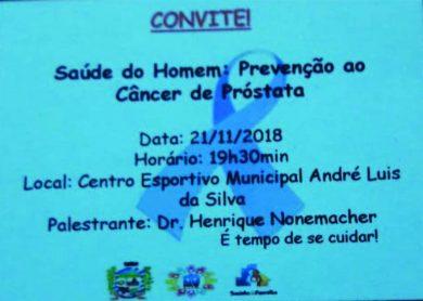 Nova data para a Palestra sobre Saúde do Homem, dia 21