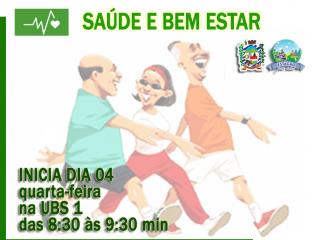 GRUPO SAÚDE E BEM ESTAR retorna as atividades dia 04/03