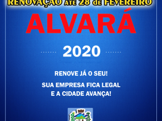 RENOVAÇÃO DO ALVARÁ até 28 de FEVEREIRO