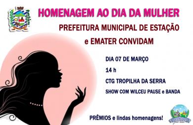 GRANDE comemoração ao DIA da MULHER! dia 07/03 no CTG