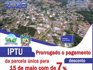 PRORROGADO O PAGAMENTO DA PARCELA ÚNICA COM DESCONTO DE 7% DO IPTU 2020 DE ESTAÇÃO