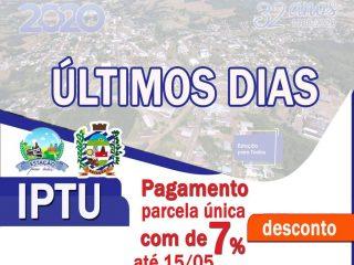 PAGAMENTO DA PARCELA ÚNICA COM DESCONTO DE 7% DO IPTU 2020 VENCE DIA 15
