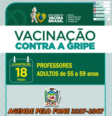 PROFESSORES e ADULTOS de 55 a 59 anos recebem vacina da GRIPE