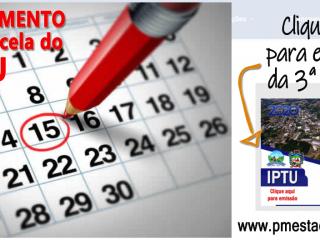 HOJE VENCE A 3ª PARCELA DO IPTU 2020