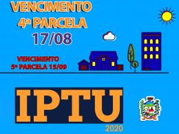VENCIMENTO 4ª PARCELA DO IPTU SERÁ DIA 17 DE AGOSTO