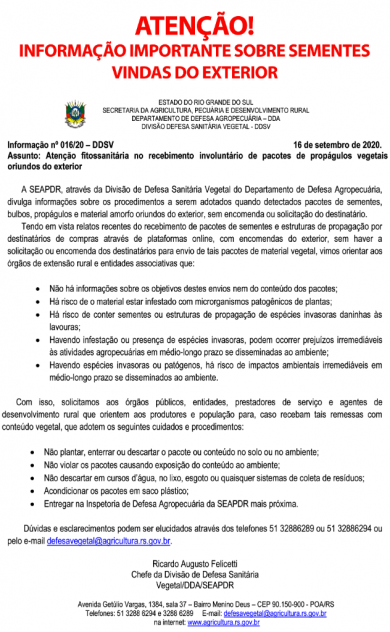 INFORMAÇÃO IMPORTANTE SOBRE SEMENTES VINDAS DO EXTERIOR