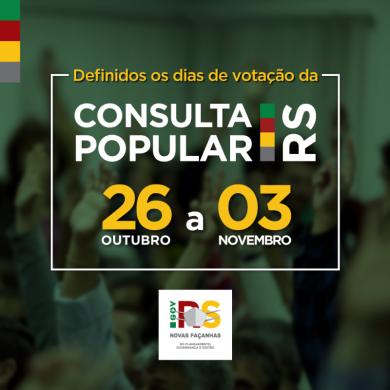 PARTICIPE DA CONSULTA POPULAR 2020 de 26 de outubro e 3 de novembro