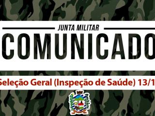Inspeção de Saúde para o Serviço Militar Obrigatório dia 13/11