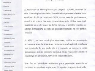 Nota pública AMAU referente ao retorno presencial das aulas