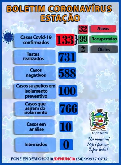 BOLETIM INFORMATIVO CORONAVÍRUS 16/11