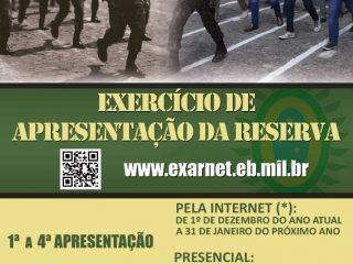 Exercício de Apresentação da Reserva 2020 começa hoje – 01 de dezembro