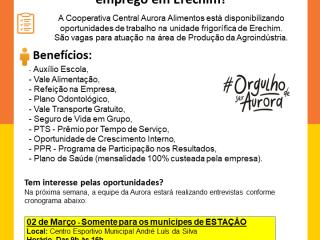 Aurora Alimentos disponibiliza vagas de emprego em Erechim!