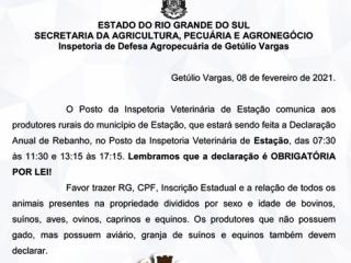 COMUNICADO DA INSPETORIA VETERINÁRIA SOBRE A DECLARAÇÃO ANUAL DE REBANHO