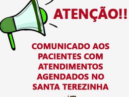 COMUNICADO aos pacientes com atendimentos agendados na Fundação Hospitalar Santa Terezinha de Erechim