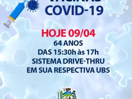 VACINAS COVID-19 PARA MUNICÍPES DE 64 ANOS