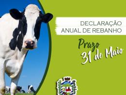 Declaração Anual de Rebanho até 31/05/2021