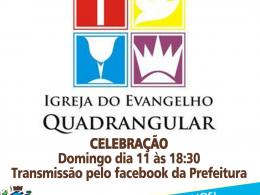 DOMINGO DIA 11 CULTO ÀS 18:30 – transmissão pelo facebook
