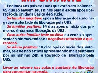 SECRETARIA DA SAÚDE ORIENTA PAIS SOBRE ISOLAMENTO