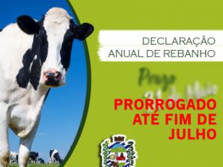 DECLARAÇÃO ANUAL DE REBANHO PRORROGADA ATÉ JULHO