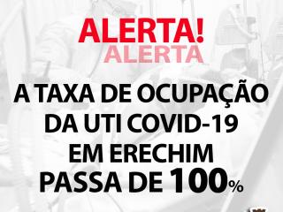 Covid-19: mais de 100% de ocupação nos leitos de UTI em Erechim