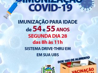 IMUNIZAÇÃO CONTRA COVID-19 PARA 54 e 55 ANOS