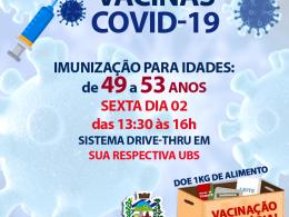 VACINAÇÃO CONTRA COVID-19 DE 49 a 53 anos
