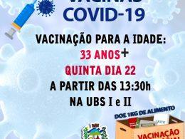 IMUNIZAÇÃO COVID-19 PARA 33 ANOS +