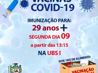 IMUNIZAÇÃO COVID-19 PARA 29 ANOS +
