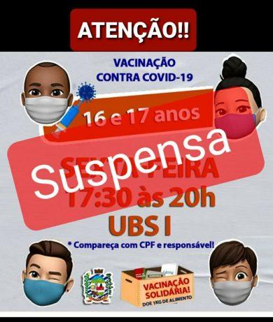 ATENÇÃO!!! suspensa a vacinação para adolescentes temporariamente